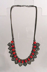 Minority Tribe Silver and Bead Necklace, Early 20th C.