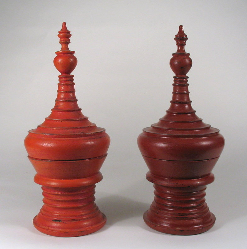 Pair Miniature Burmese Lacquer Offering Bowls