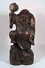 Large Japanese Carved Wood Daikoku Mingei Figure, Meiji