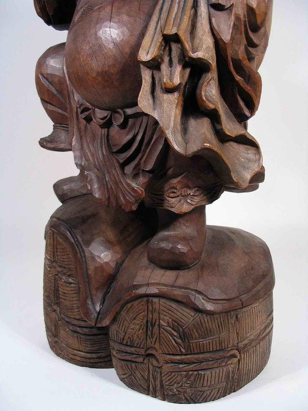 Large Japanese Carved Wood Daikoku Mingei Figure, Meiji