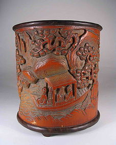 Carved Chinese Scholar's Bamboo Brushpot, Qing
