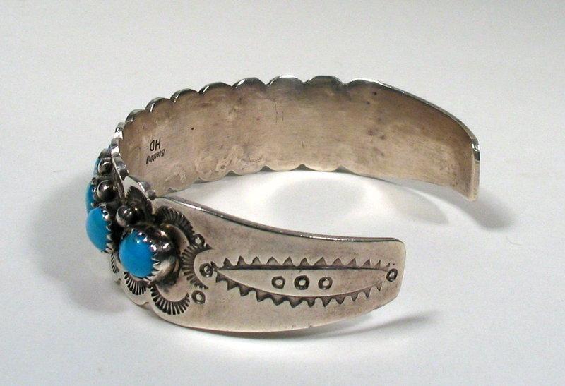 Navajo Silver Turquoise Bracelet By Henry Davis