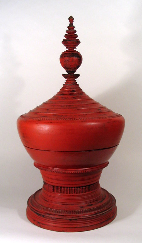 Burmese Red Lacquer Offering Vessel, Hsun-ok