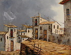 Mexican Adobe Pueblo Painting, Oil on Canvas, R.M Domez