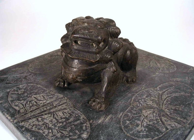 Carved Chinese Stone Weight with Lion, Qing