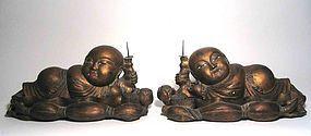 Pair Chinese Lotus Boy Candle Pricks