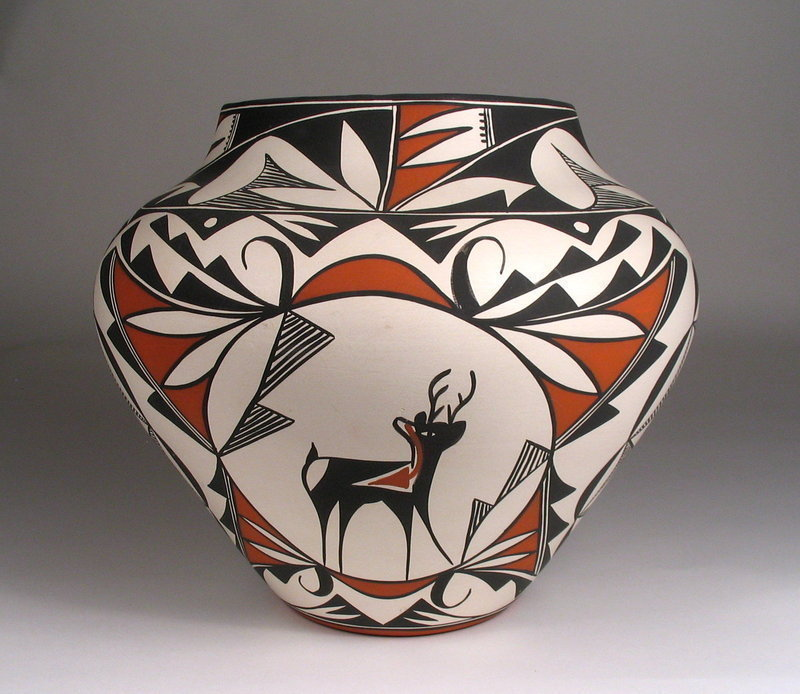 Acoma Pottery Olla with Deer, Signed Louise Amos
