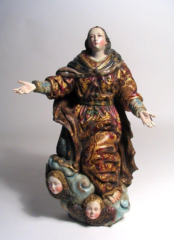 18th Century Spanish Colonial Santo, Virgin Mary