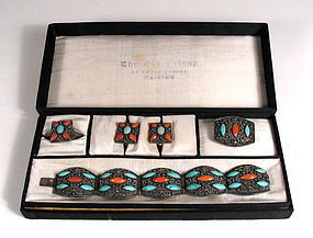 Complete Ensemble of Chinese Silver, Coral and Turquoise Jewelry