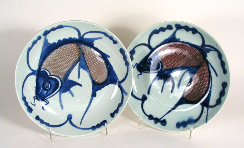 Pair of Chinese Underglaze Blue and Red Fish Plates, Qing