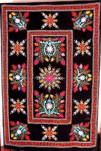 Uzbek Suzani Embroidered Coverlet