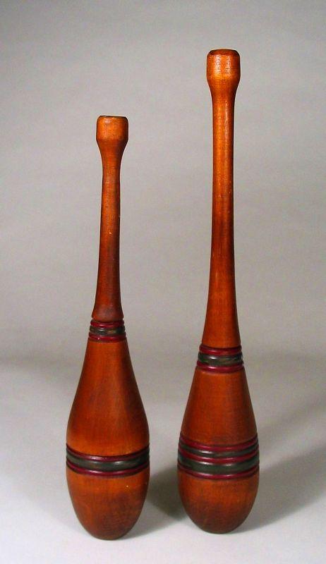 Pair of Vintage Wood Juggling Pins / Clubs