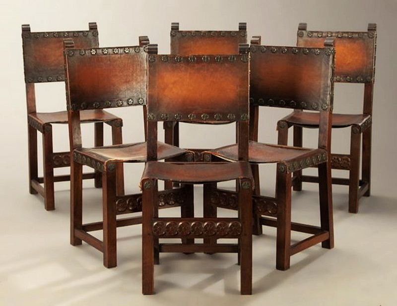 Six Antique Spanish Renaissance Walnut & Leather Dining Chairs