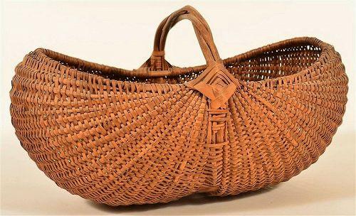 Antique Woven Oak Splint Gathering Basket