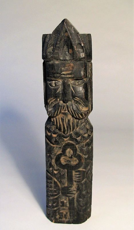 Carved Mexican Wood Santos Figure of St. Peter