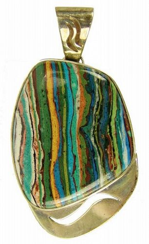 Southwestern Sterling Pendant with Large Multicolored Stone