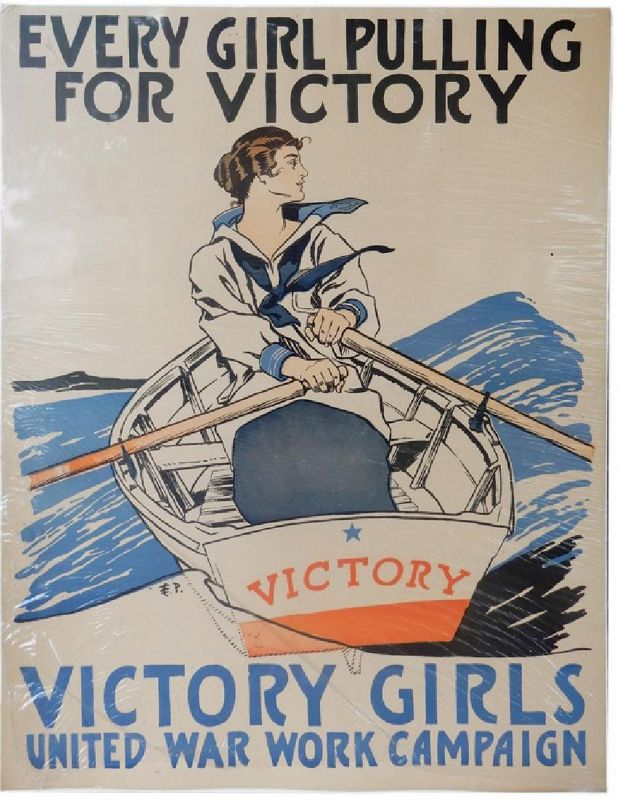 WWI Lithographic Poster, Victory Girl