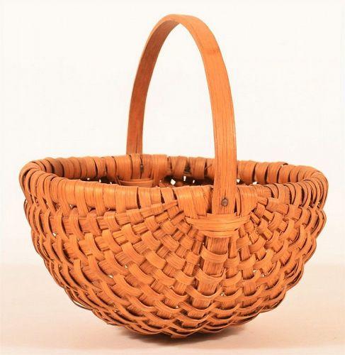Antique Woven Splint Oak Egg Basket