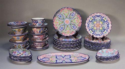 Vintage Talavera Mexican Pottery Dessert Set