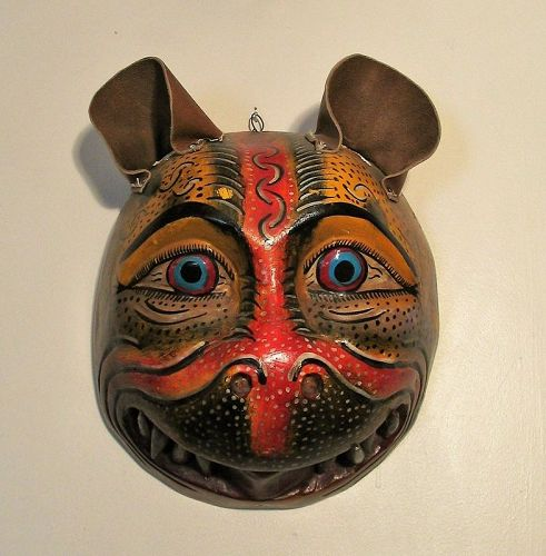 Oaxacan Mexican Hand Carved Jaguar Dance Mask