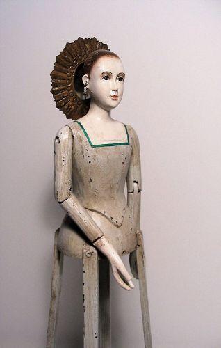 Folk Art Santos Cage Doll with Tin Halo