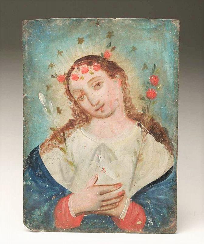 Antique Mexican Painted Tin Retablo - El Alma de Maria