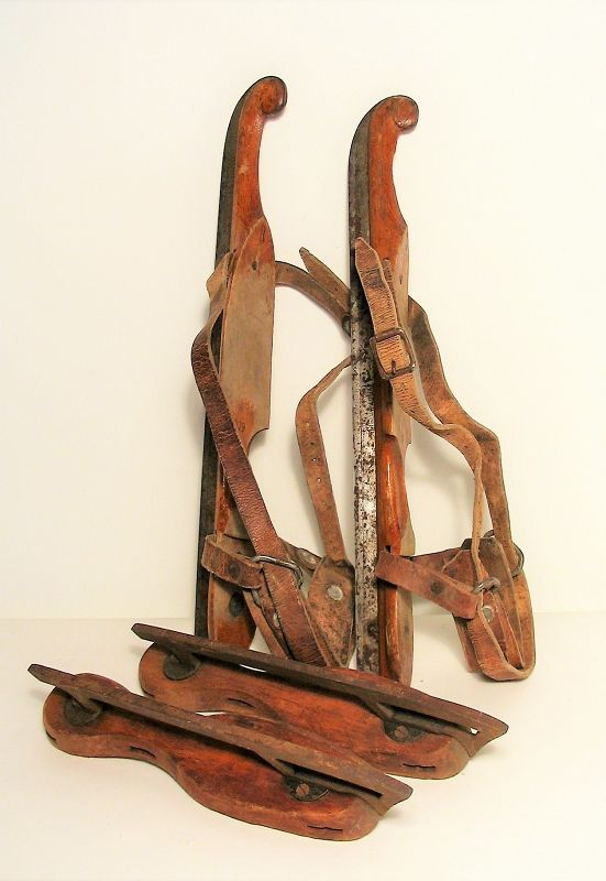 Two Pair Antique Wood Ice Skates