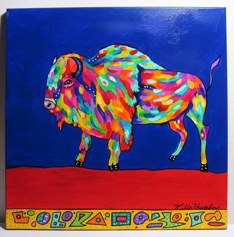 Colorful Acrylic Painting ''Razzle Dazzle Bison,'' Kathy Kills Thunder