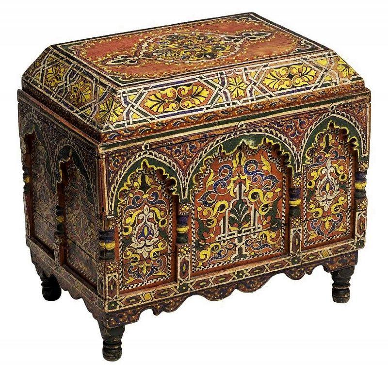 Antique Arabesque Polychrome Lidded Box / Chest, 19th C.
