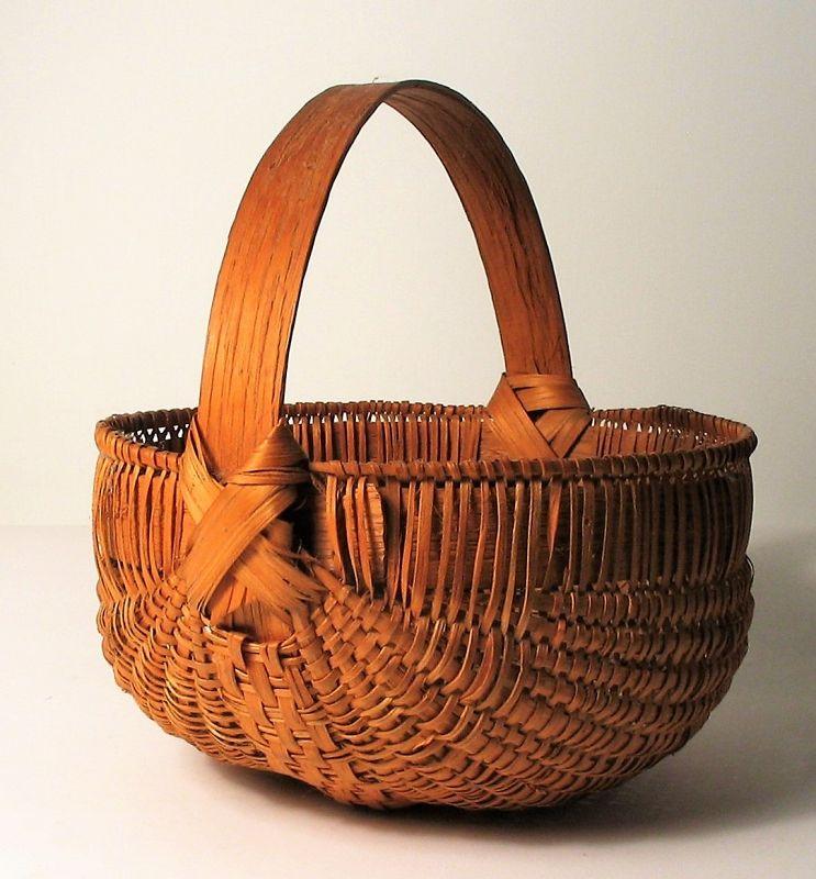 Fine Antique Oak Splint Tennessee Gizzard Basket