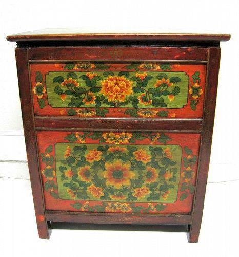 Antique Four Drawer Polychrome Tibetan Chest