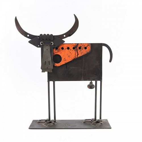 Delightful Welded Iron Bull Sculpture