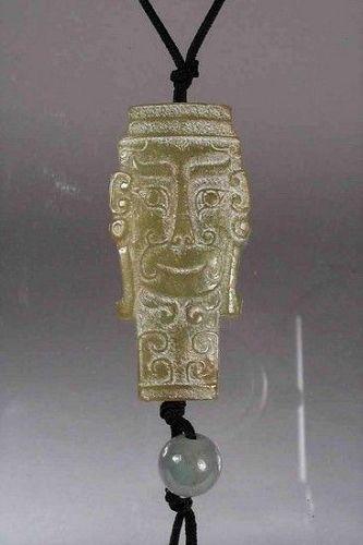 Chinese Jade Mask Pendant / Toggle