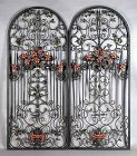 Ornate Pair Antique Wrought Iron Arched Panels
