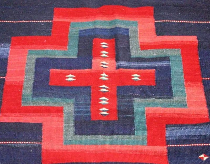 Vintage Wool Mexican Hand-Woven Carpet Runner