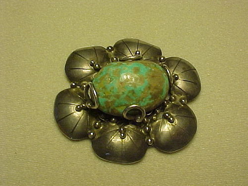 MARY GAGE ARTS & CRAFTS PERIOD STERLING TURQUOISE BROOCH