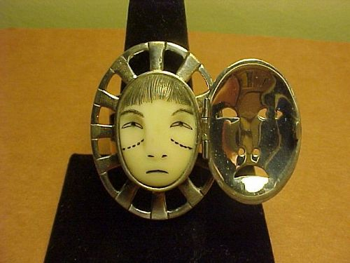 "ALEUT DENISE WALLACE LARGE SCALE ""WOMAN IN THE MOON"" RING WITH DOOR"