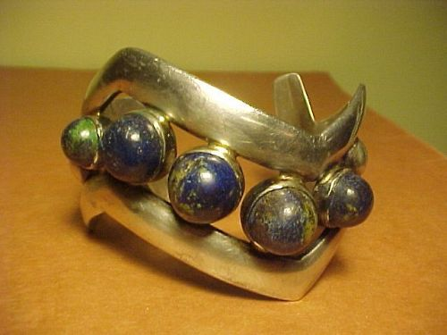 VINTAGE WILLIAM SPRATLING SILVER CHRYSOCOLLA V  CUFF