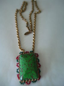 Vintage Miriam Haskell Art Glass Necklace w/Seed Beads