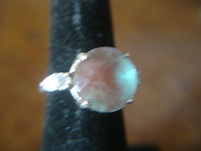 Antique Bohemian Saphiret Solitaire in Sterling Ring