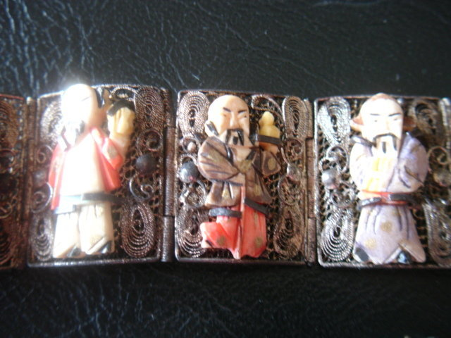 Antique Chinese Silver Carved 8 Immortals Bracelet  Set