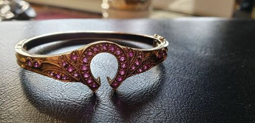 Victorian 9k Rose Gold Ruby Horseshoe Bracelet 17grams