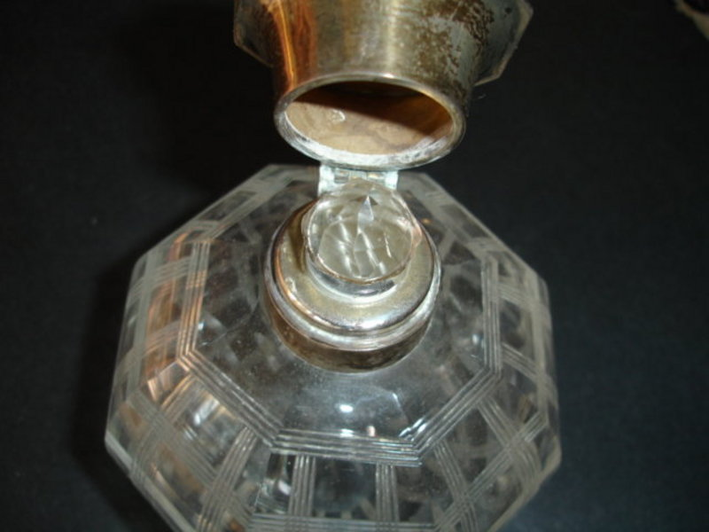 Large English Crystal Sterling Silver Perfume Bottle