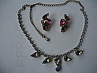 Vintage SCHIAPARELLI Watermelon Rhinestone Necklace Set