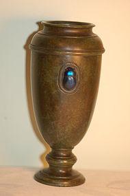 Tiffany Studios Favrile Glass & Bronze Vase Scarab