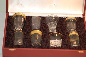 Moser Bohemian glass signed cordial set (8) in box