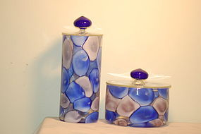Murano glass 'Nerox' jars (2) by Fratelli Toso C:1960