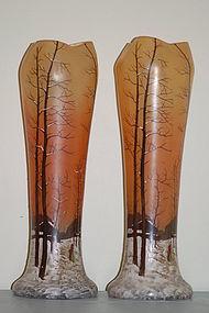Pair Legras French glass vases C:1910