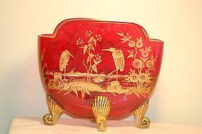 Moser Bohemian glass pillow vase C:1900