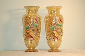 Pair Moser Bohemian glass ocean-themed crackle glass vases C:1890